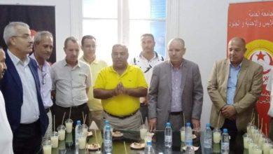 صورة الأخ نور الدين الطبوبي يدشن مقر الجامعة العامة للنسيج